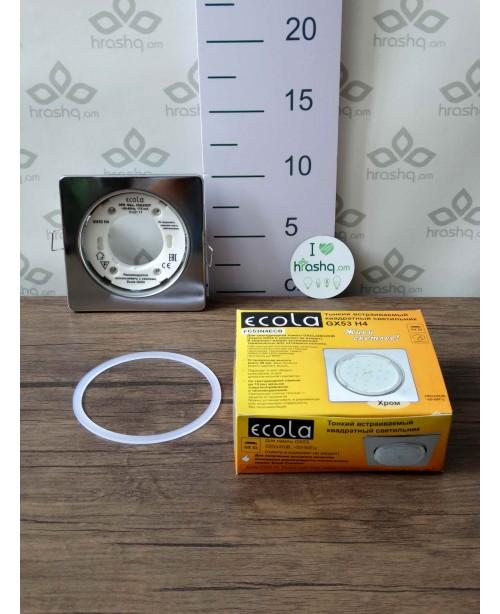 Ներկառուցվող լուսատու Ecola Square open edge քառակուսի, տափակ, բաց եզրով GX53 H4 համար, խրոմ, 106x41