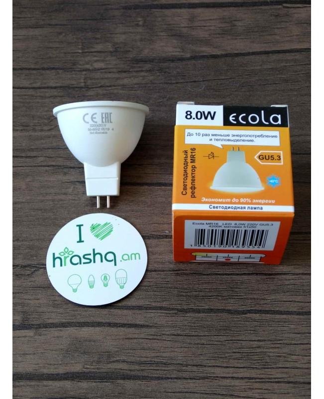 Լամպ լուսադիոդային Ecola MR16 LED 8,0W 220V GU53 4200K փայլատ 51x50