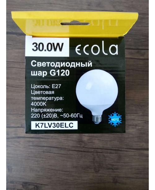 Լամպ Ecola Globe LED Premium 30,0W G120 220V E27 4000K գունդ 320° կոմպոզիտ 170x120
