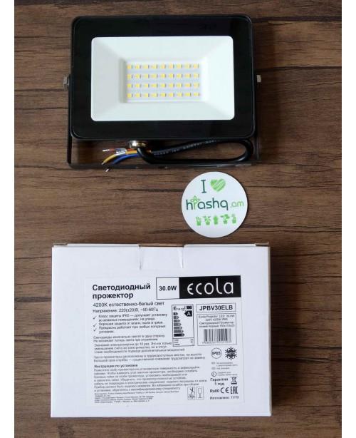 Լուսադիոդային լուսարձակ Ecola Projector LED 30,0W 220V 4200K IP65 բարակ Սև 150x110x25